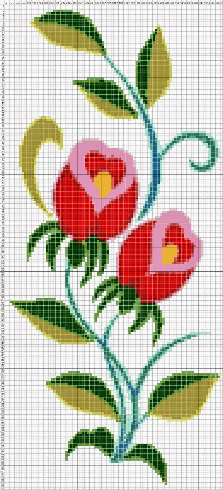 Gambar Pola Kristik Bunga Merah (2)