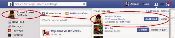 Get facebook friend request from myself