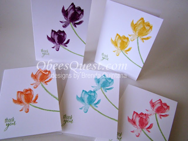 Qbees Quest Lotus Blossom Note Cards Tutorial