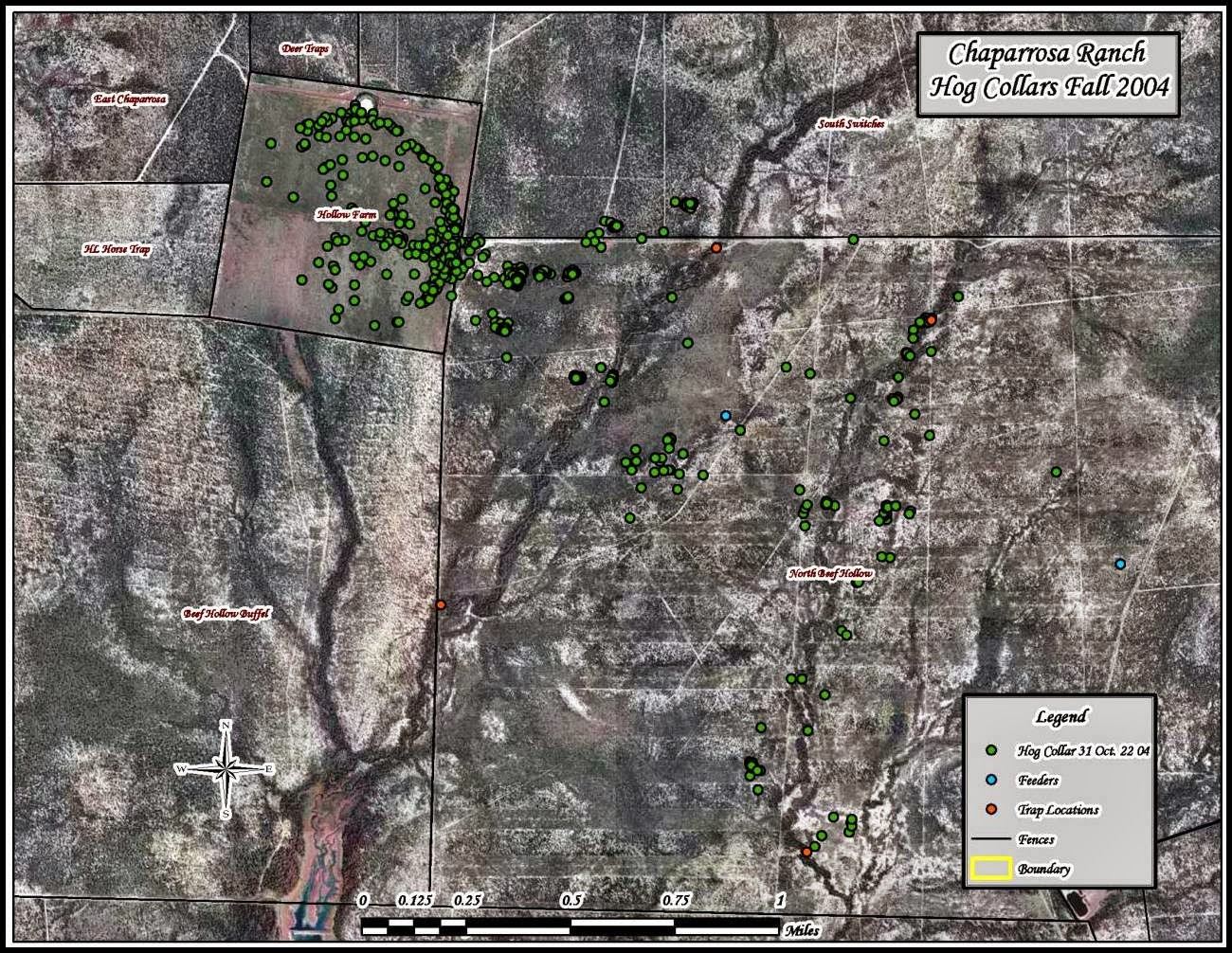 The Picture Below Represents The Locations Of A Specific Feral Hog On An Area Of Land During The Fall Of 2004