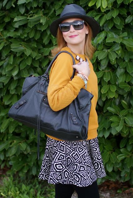outfits, mustard sweatshirt, balenciaga work bag, black panama hat, fashion and cookies, fashion blogger