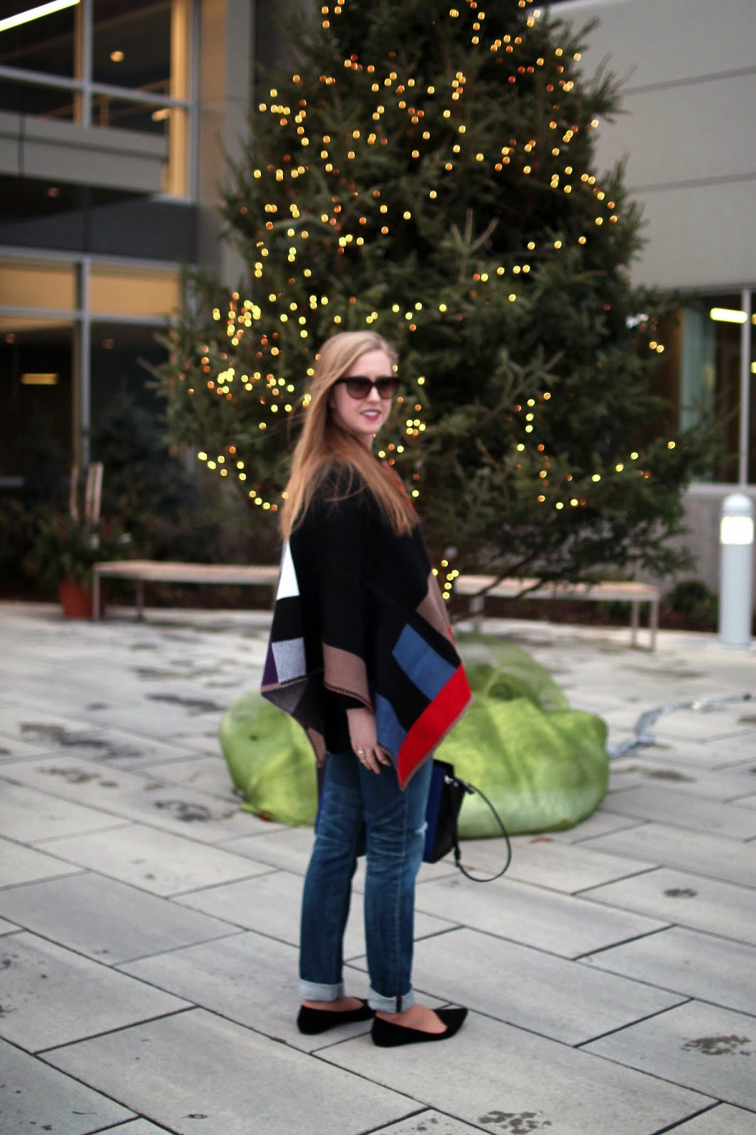 boston style blog, blogger style, sheinside cape, red and black wool cape, style-blueprint blog