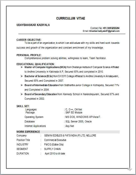 Resume Blog Co  Resume Sample Of Mca Working As Commercial