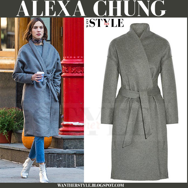 Alexa Chung in grey wool belted toteme chelsea coat what she wore winter streetstyle