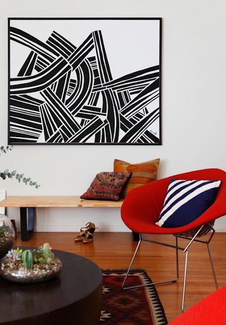 Bertoia Chair von Knoll International mit George Nelson Bench von Vitra