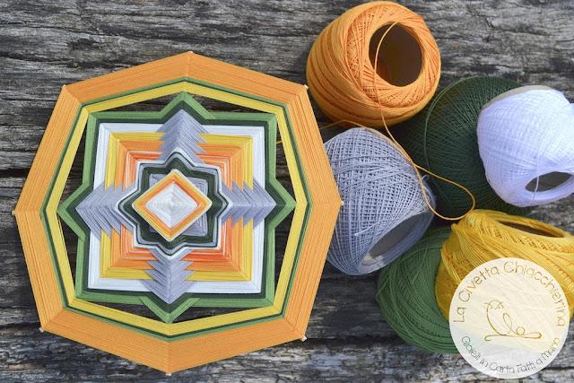 ojos de dios, mandala yarn realizzato dalla Civetta Chiacchierina