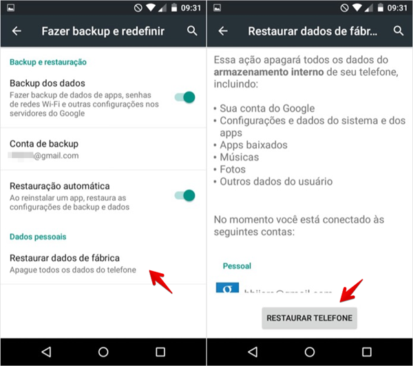 Restaurado às configurações de fábrica do Android