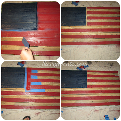 peeling tape off the american flag wood pallet