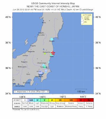 Sismo de 5,2 grados Noreste de Japón 28 de Junio 2012