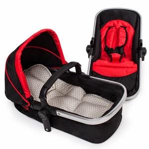 Capazo bebé Negro y Rojo Tec Take