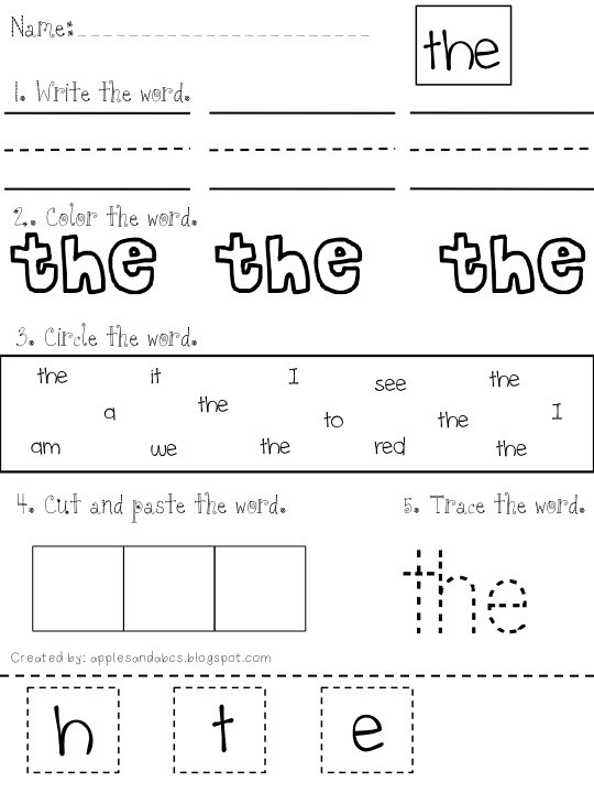 word Sight Mania! Word the for worksheet sight