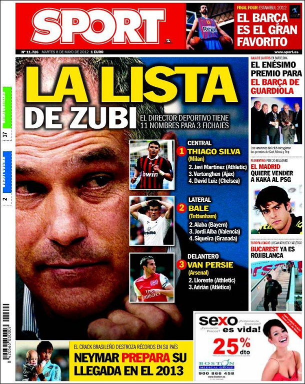 Sport 08 05 2012   La Lista De Zubi  Fichajes Del Bar  A 2012 13