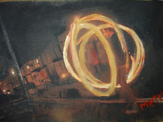 Fire games-juggler oil painting by metris