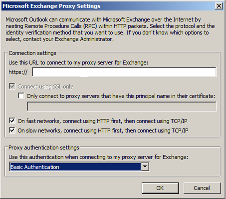 enter URL to connect to proxy server