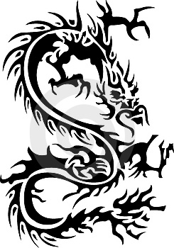 Chinese Tribal Dragon Tattoos Design