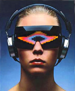 Head shot of a young woman wearing headphones, and large wrap-a-round glasses with colourful Atari VCS style graphics in the lenses. From one of Atari's 1976 Video Music magazine adverts.
