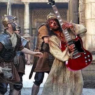 Jesús de Nazaret rocking. Cristo tocando la guitarra eléctrica, posiblemente el solo de la canción Stairway to heaven, de Led Zeppelin | Ximinia