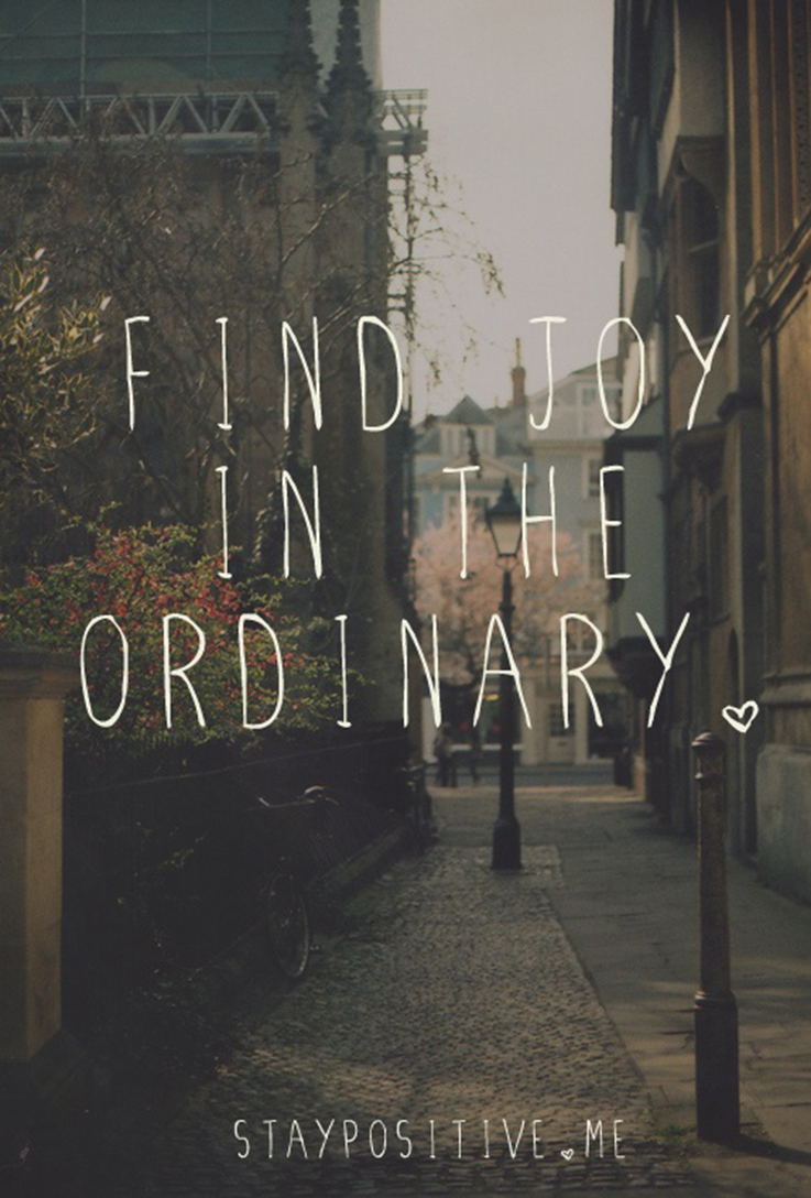 Find joy in the ordinary quote