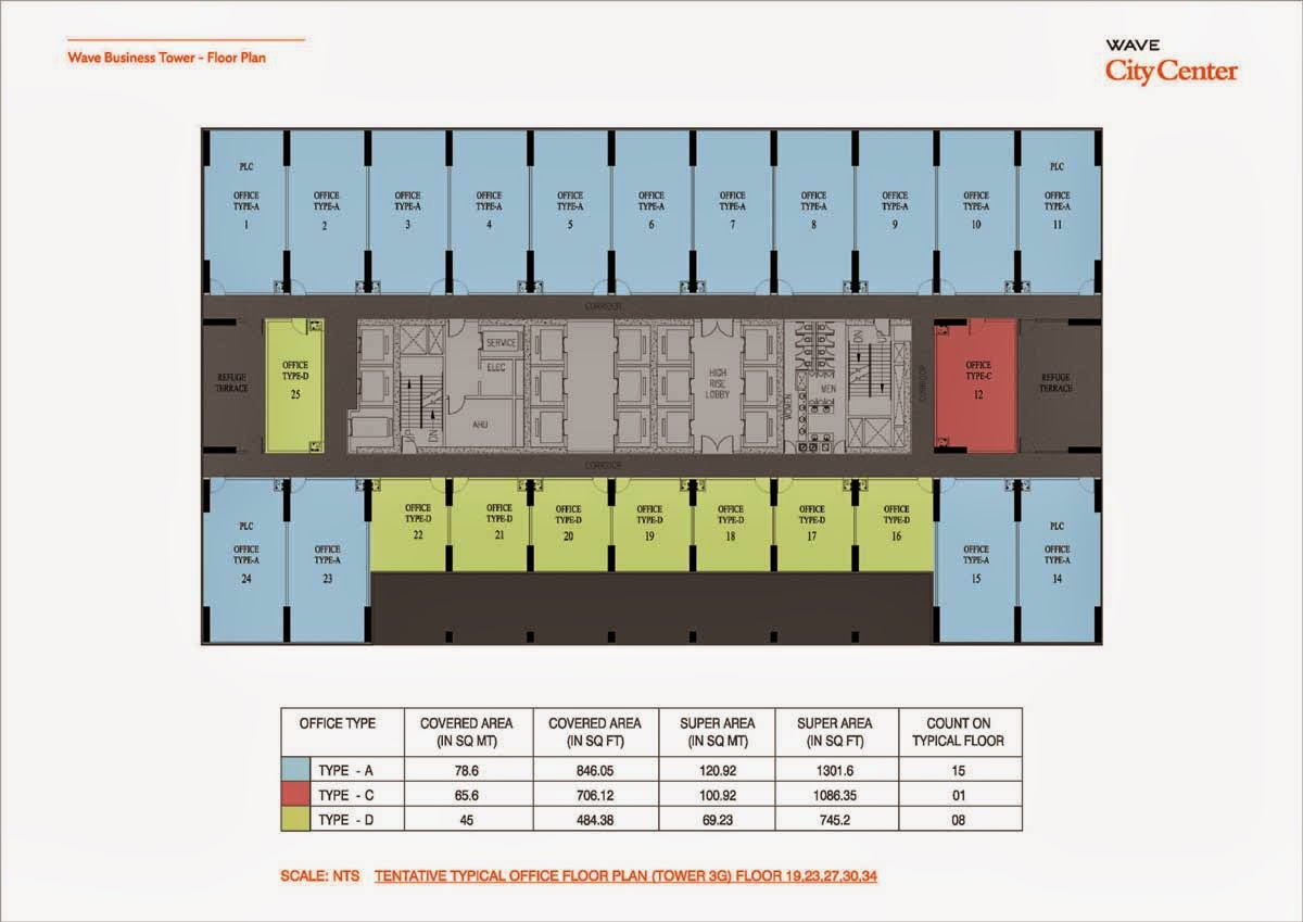 Wave Business Tower Floor Plan Tower 3G 19,23,27,34 Floor Plan