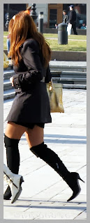 Girls wearing black high heel boots