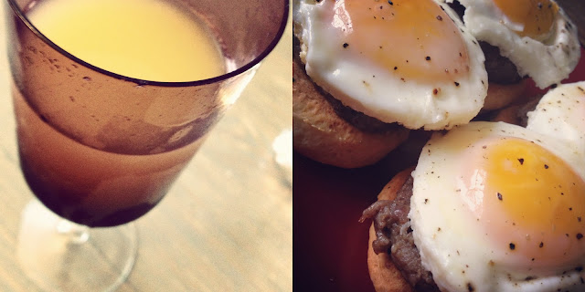 Left picture: a mimosa. Right picture: Country Eggs Benedict 