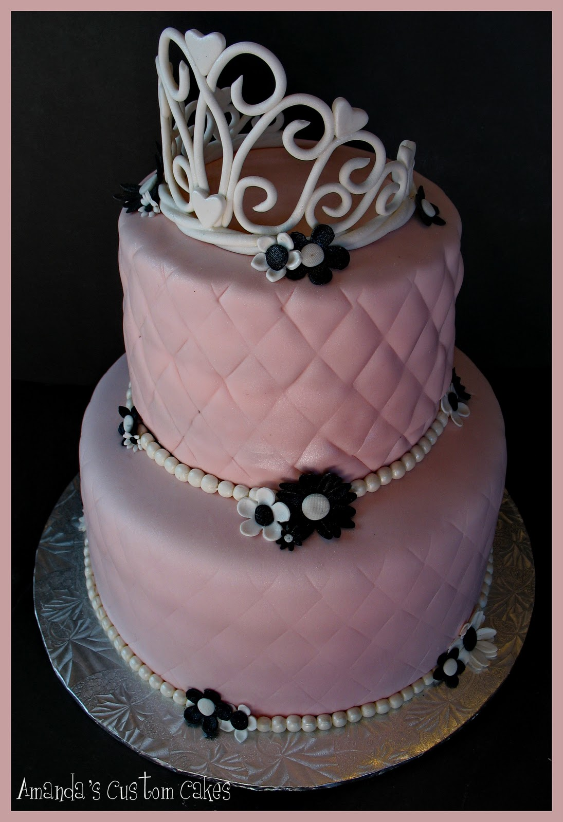 bridal shower cake vanilla cake with strawberry creamcheese filling covered in fondant gumpaste tiara pearls and flowers dusted in pearl dust