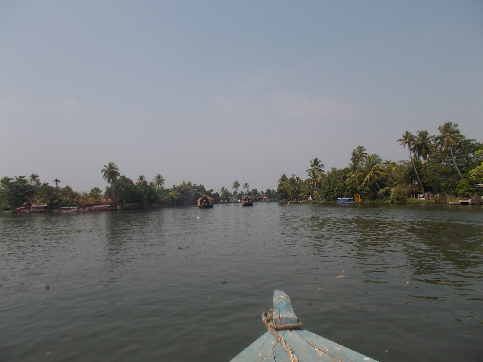 Cruising on passenger boat on backwaters of Kerala.