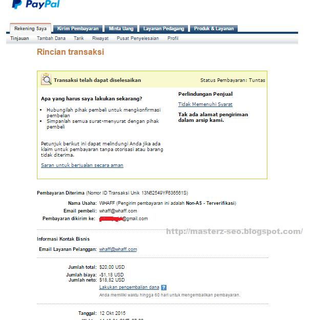 Bukti pembayaran Whaff 20 dollar Tgl 12 oktober 2015