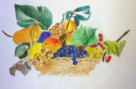 Profdiarte riproduzione canestra di frutta di caravaggio for Cesto di frutta disegno