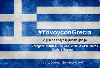 Zaragoza celebrará una Vigilia en solidaridad con Grecia