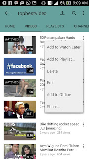menu edit video pada akun youtube di hp