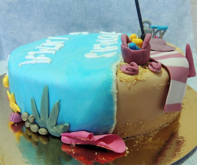 tarta playa con fondant - 2