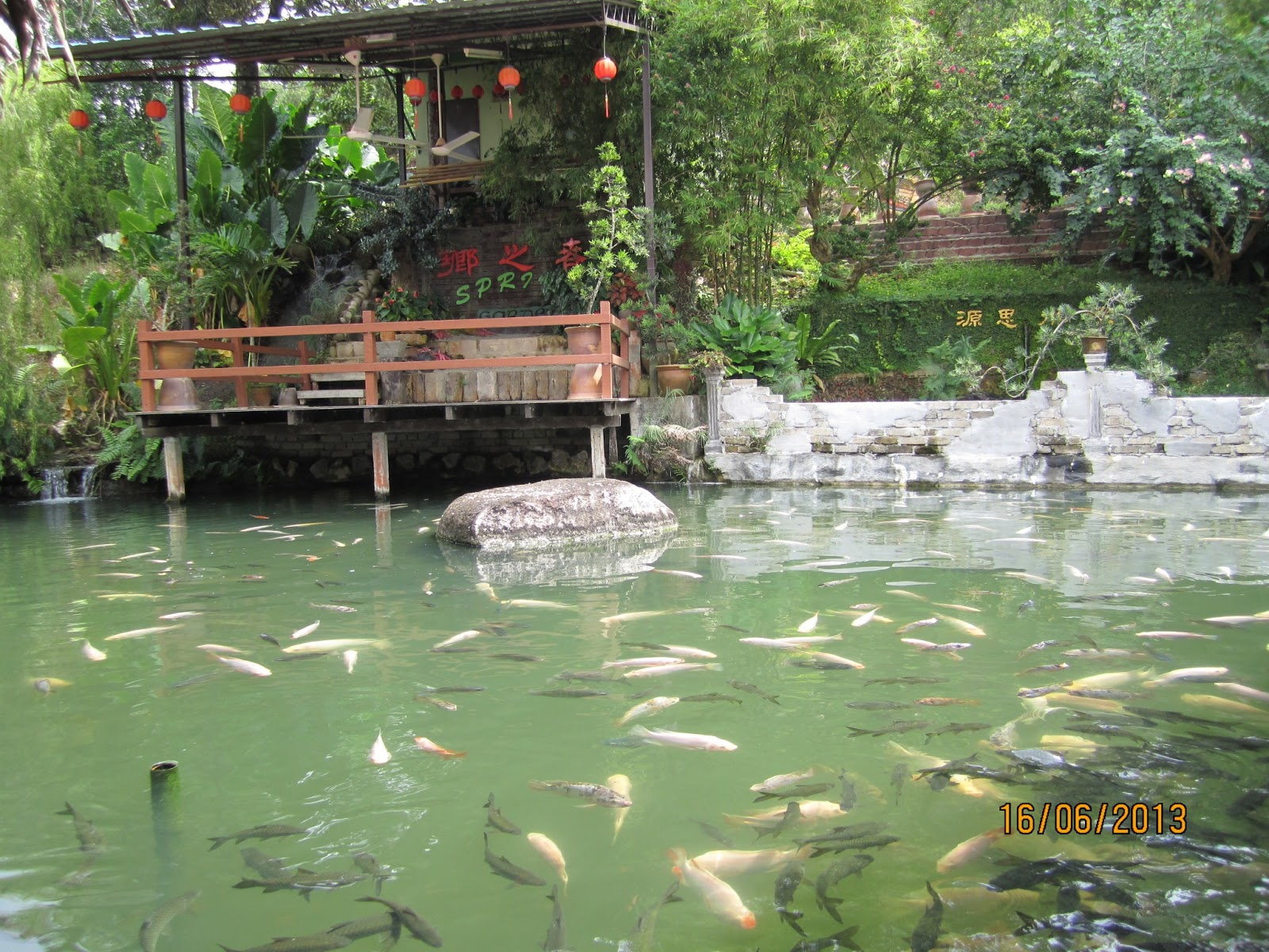 Spring garden relaxation restaurant celine 39 s for Ponds to fish in near me