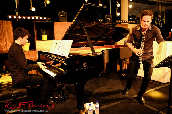 Action, In performance, Andreas Ottensamer clarinete accomanied by pianist Alex Rainer plays 'Yellow Lounge' Street Fashion Sydney