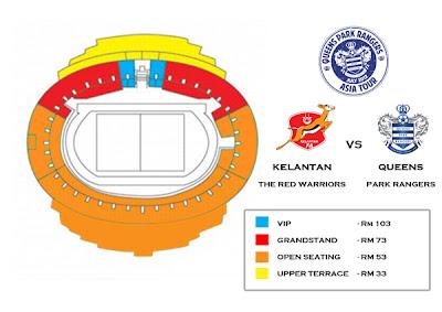 Promosi Tiket Separuh Harga Kelantan vs Queens Park Ranger (QPR) 20 Julai 2012