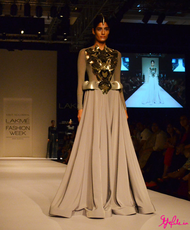moulding metallic gown beadwork embellishment for amit aggarwal at lakme fashion week 2013