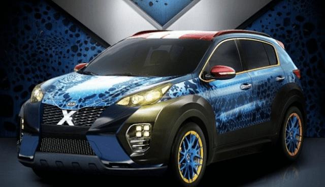 Mobil baru Kia Sportage X-Men atau nama populernya X-Car ini, di desain dengan tekstur serta warna biru.