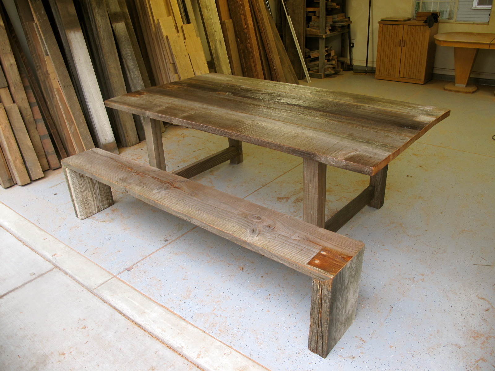 Arbor Exchange   Reclaimed Wood Furniture  Silver Weathered Outdoor Table    Bench. Arbor Exchange   Reclaimed Wood Furniture  Silver Weathered