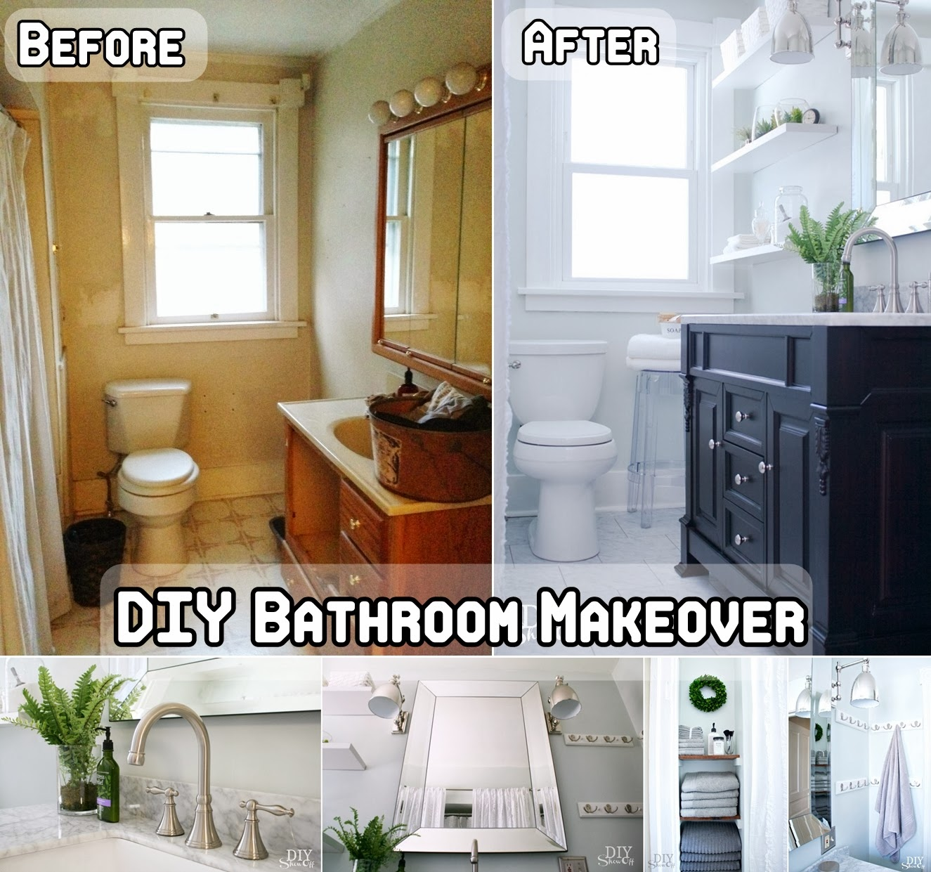 Diy bathroom makeover diy craft projects for D i y bathroom installations