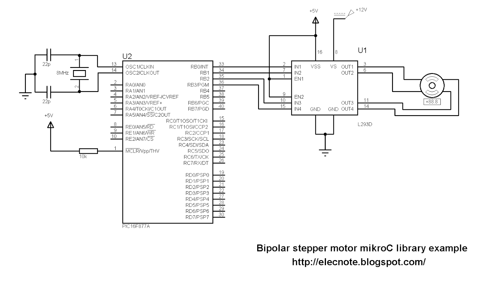 Electronics note mikroc pro for pic stepper motor library for 4 wire stepper motor driver circuit