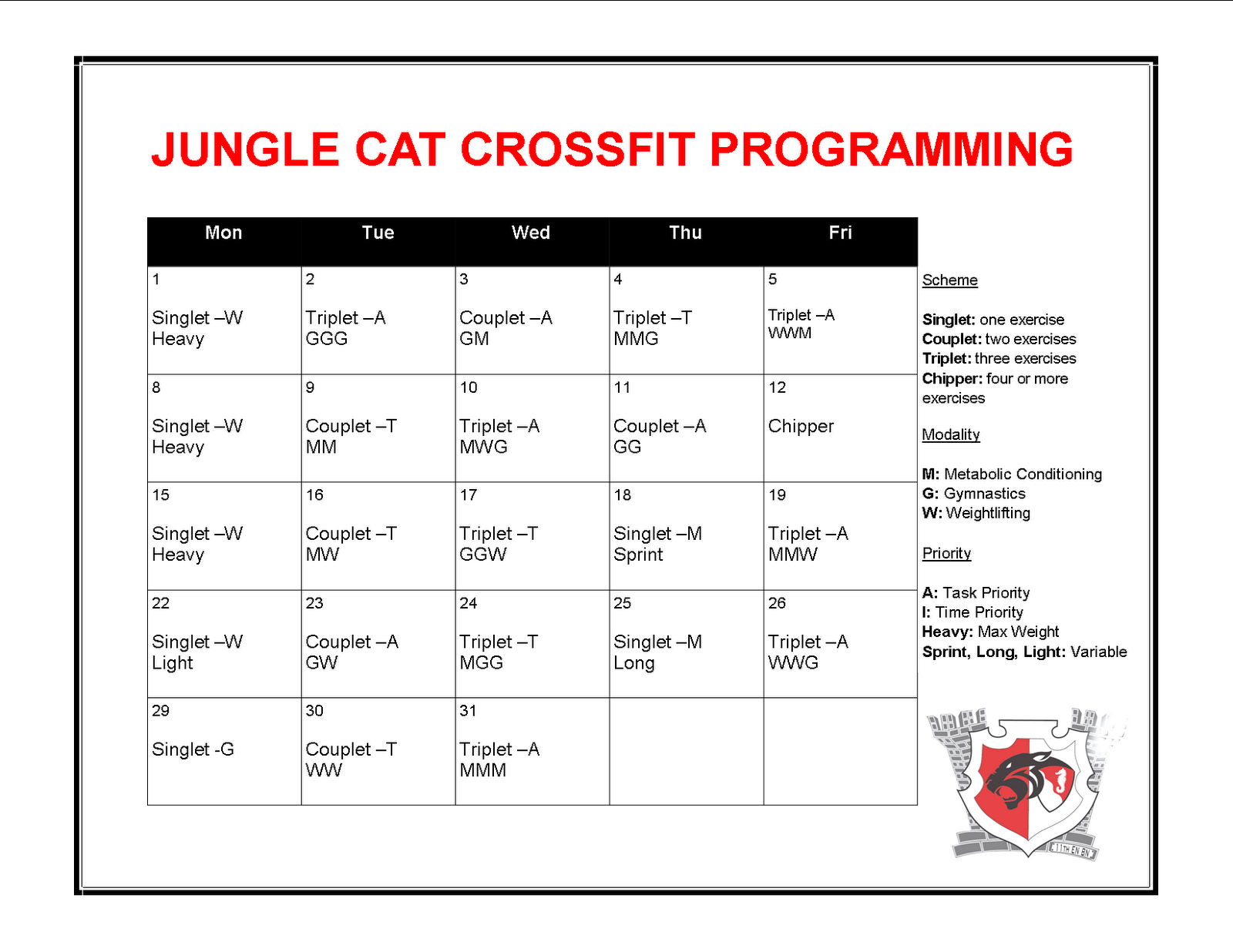 JungleCat CrossFit: Jungle Cat CrossFit Programming