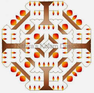 3 Deepam kolam with dots 20 to 8