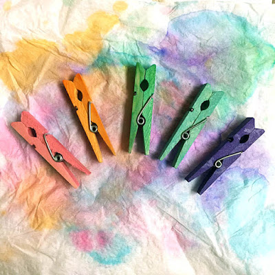Rainbow colored clothespins