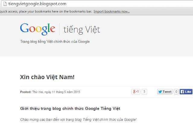Google Chính Thức Giới Thiệu Trang Blog Tiếng Việt Cho Việt Nam
