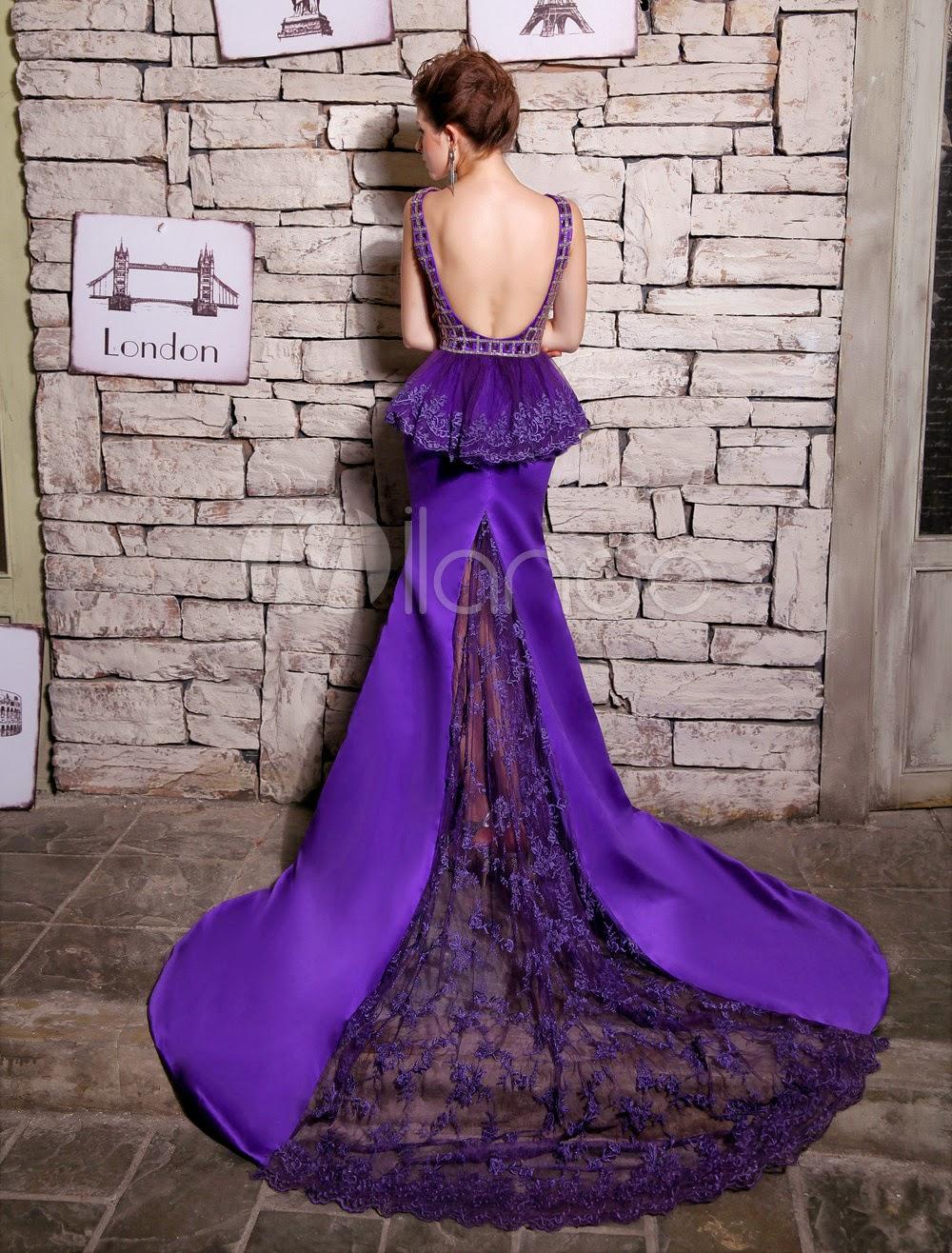 Robe merveilleuse de soirée violet foncée sirène col bateau avec perles à traîne courte