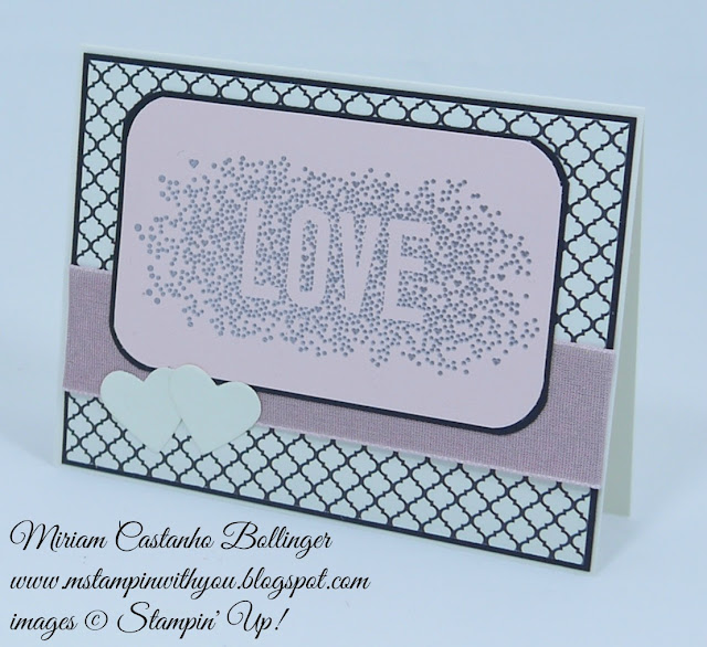 Miriam Castanho Bollinger, #mstampinwithyou, stampin up, demonstrator, sssc, bridal card, wedding card, modern medley, heat embossing, hearts collection, big shot, su