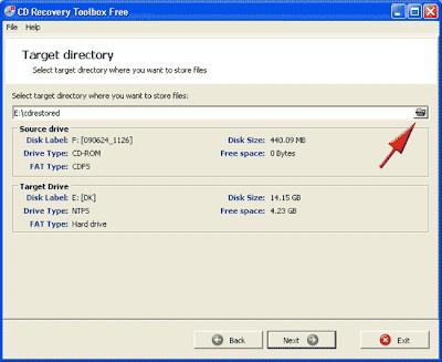 memilih lokasi penyimpanan file