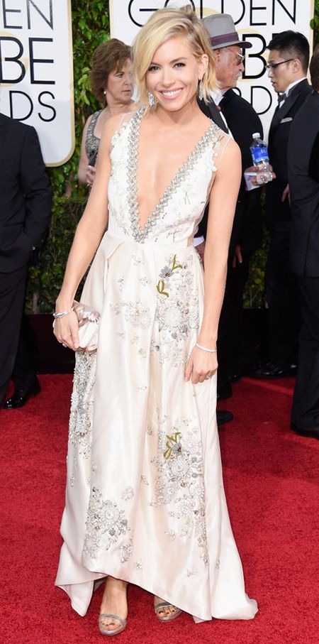 Sienna Miller in a romantic Miu Miu dress at the Golden Globes 2015
