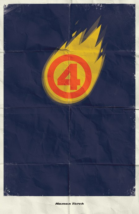 marko manev ilustração poster minimalista super heróis marvel Tocha Humana