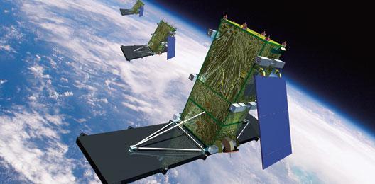 Artist illustration of the RADARSAT Constellation Mission. Credit: MDA